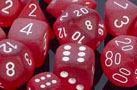 Frosted Red / White 7 Dice Set - CHXLE427