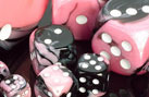 Gemini Black-Pink w/White Polyhedral Dice Set (7)