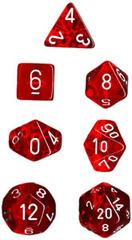 Translucent Red / White 7 Dice Set - CHX23004
