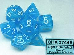 7 Light Blue /white Cirrus Polyhedral Dice Set - CHX27446