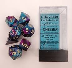 7 Purple-Teal w/Gold Gemini Polyhedral Dice Set - CHX 26449