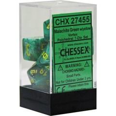 7 Malachite Green w/yellow Vortex Polyhedral Dice Set - CHX27455