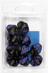 10 Black-Blue w/Gold Gemini D10 Dice Set - CHX26235