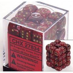 36 Burgundy / Gold Vortex Dice 12mm D6 Dice Block