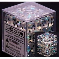 36 Aquerple / Black Borealis 12mm D6 Dice Block