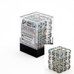 36 Clear w/black Borealis 12mm D6 Dice Block - CHX27800