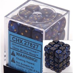 36 Royal Blue w/gold Scarab 12mm D6 Dice Block CHX 27827
