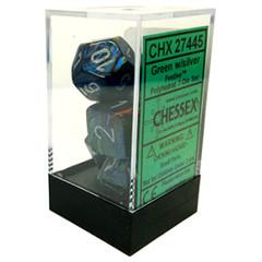 Green w/silver Festive Polyhedral 7-die Set - CHX27445