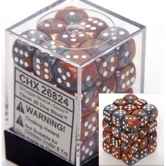 36 Copper-Steel w/white Gemini 12mm D6 Dice Block - CHX26824