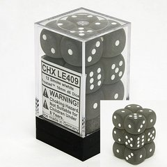 12 Smoke w/white Frosted 16mm D6 Dice Block - CHXLE409