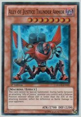 Ally of Justice Thunder Armor - HA02-EN021 - Super Rare - 1st Edition on Channel Fireball