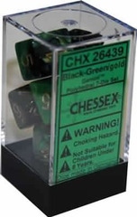 Gemini Black-Green / Gold 7 Dice Set - CHX26439