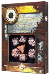 Caramel-White Steampunk Clockwork Dice Set (7)