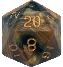 Acrylic Dice 35mm Mega D20 Combo Attack Black & Yellow with Gold Numbers