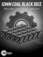 12mm Coal Black Dice x20