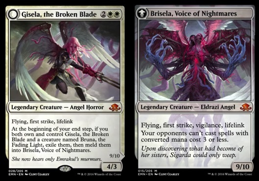 Gisela, the Broken Blade // Brisela, Voice of Nightmares