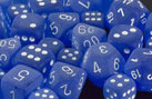 Frosted Blue w/White Polyhedral Dice Set (7)