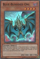 Blue-Blooded Oni - GENF-EN034 - Super Rare - 1st Edition on Channel Fireball