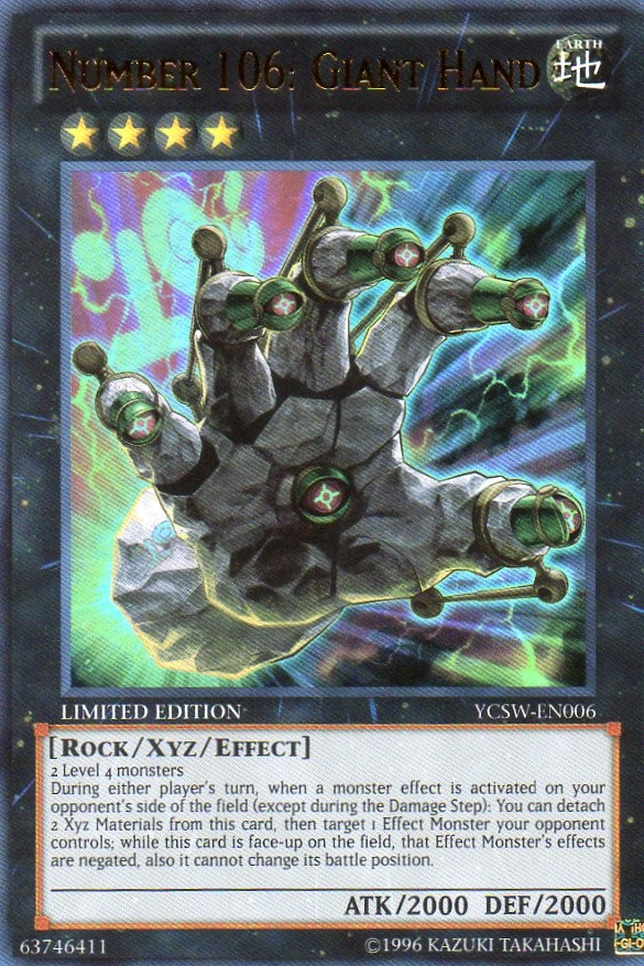 Number 106: Giant Hand - YCSW-EN006 - Super Rare - Limited Edition