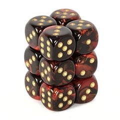 12 Black-Red w/Gold Gemini 16mm D6 Dice Block - CHX26633