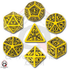 Yellow & Black Steampunk 7 Dice set