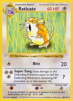 Raticate - 40/102 - Uncommon - Shadowless Edition