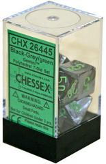 Gemini Black-Grey with Green set of 7 dice Polyhedronal - CHX26445