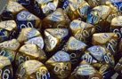 Gemini Blue-Gold / White Polyhedral 7 Dice Set - CHX26422