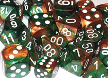 Gemini Copper-Green / White 7 Dice Set - CHX26437
