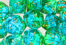 Gemini Translucent Green-Teal / Gold 7 Dice Set - CHX26438