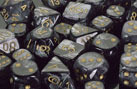 7-die Polyhedral Set - Lustrous Black with Gold - CHX27498