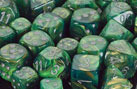 Lustrous Green / Silver 7 Dice Set - CHX27495