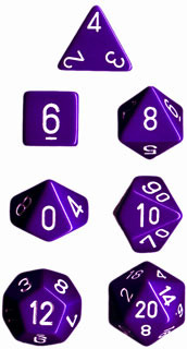 Opaque Purple / White 7 Dice Set - CHX25407