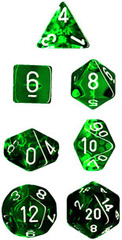 Translucent 7 Dice set (CHX23005) - Green / White