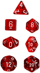 Translucent Red / White 7 Dice Set - CHX23004