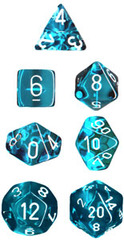 Translucent Teal / White 7 Dice Set - CHX23085