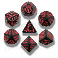 Black & Red Dragon Dice set