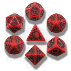 Red & Black Dragon Dice set