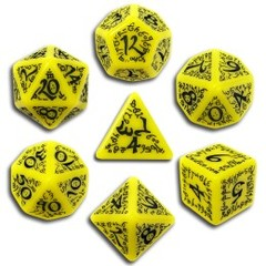 Elven - Yellow & Black (Set of 7 Dice)