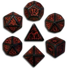 Black & Red Elvish 7 Dice set