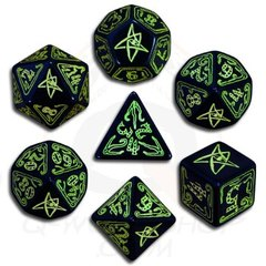 Call of Cthulhu Dice: Black & Green 7 Dice set