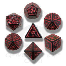 Black & Red Nuke 7 Dice set
