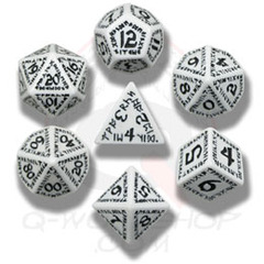White & Black Runic 7 Dice set