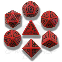 Red & Black Runic 7 Dice set