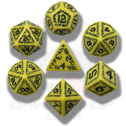 Yellow & Black Runic 7 Dice set