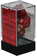 Magenta w/gold Polyhedral 7 Dice Set - CHX27424