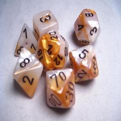 Gold-White/black Gemini Polyhedral 7 Die Set - CHX26448