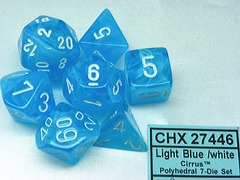 7 Light Blue /white Cirrus Polyhedral Dice Set - CHX27446
