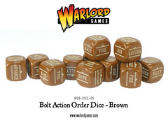 12 Brown Bolt Action Order D6 Dice Set