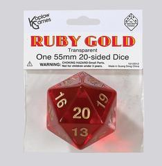 Jumbo Spindown D20 55mm Translucent Ruby w/Gold